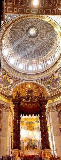 Interior of St Peter Basilica in Vatican City, Rome Lazio