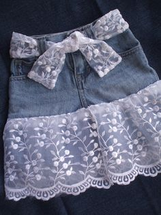 Items similar to Denim Skirt with Lace Country Summer Outdoor Wedding OOAK on Etsy Denim and Lace Toddler Skirt Blue Diy Old Jeans, Recycle Jeans, Denim And Lace, Blue Denim, Sewing Clothes, Diy Clothes, Dress Clothes, Fashion Clothes, Toddler Skirt