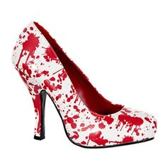 Blood Splatter Zombie Pumps by Pleaser via Sinister Soles. Also available in black.