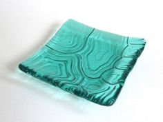 Light Aqua Fused Glass Turtle Shell Imprint Square por bprdesigns