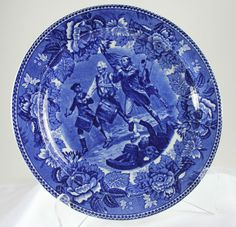 Antique Wedgwood Blue Transfer Ware Cabinet Plate The Spirit of 76 c 1900