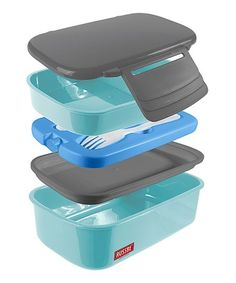 Loving this 1.5-Qt. Powder Blue Double Stack Bento Box on #zulily! #zulilyfinds