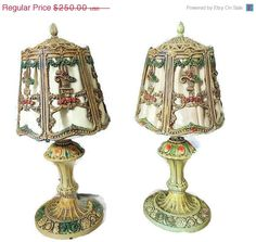 Ornate IRON Table Lamps COTTAGE Chic Deco Era by PremierAntiquesNY