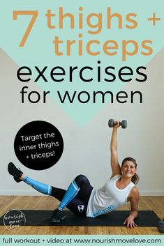 inner thighs and triceps, common trouble areas that you can tone and tighten at-home with this thighs and triceps workout for women.