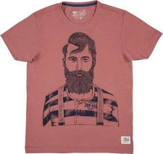 Now run errands in style by dressing in this cool T shirt by Flying Machine. Set in a round neckline and shirt sleeves pattern, this design features a quirky beard man print. Team this with distressed denims and leather flip flops to stand out in the crowd.