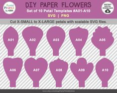 10 SVG Paper Flower Templates A01-A10, diy Giant Large Paper Flower Templates, SVG Paper Flowers,svg png cut files, molde de flores de papel