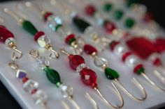Red Green Variety Beaded Christmas Ornament Hook Hangers | eBay