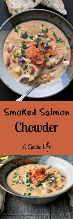 Smoked Salmon Chowder~thick, hearty, loaded with smoky salmon flavor and tender, bite-size pieces of potato ~ just we need to get through the winter. Serve with bread. (scheduled via http://www.tailwindapp.com?utm_source=pinterest&utm_medium=twpin&utm_content=post124193247&utm_campaign=scheduler_attribution)