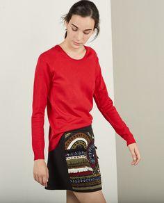 Jersey básico de mujer Sfera en rojo