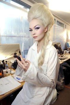 Siri Tollerød backstage at Christian Dior Haute Couture S/S 2010.