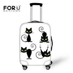 FORUDESIGNS Cute Cat Outline Luggage Protective Covers Spandex Elastic Suitcase Apply to 18-30 Inch Cases Trunk Case with Zipper