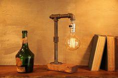 Globe Edison Industrial Steampunk Table Lamp With Oak Base