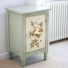 Shabby Chic Bedside Cabinet from The Other Duckling is an absolutely charming french blue shabby chic bedside cabinet, with a delicately painted floral decoration of old-fashioned roses.