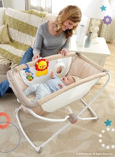 It's the perfect, portable place for baby! At night, the bassinet soothes baby to sleep with a gentle rocking motion. During the day, toys and a mirror entertain. #BabyGear #Portable #Pack #Play