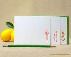 Letterpress Flat Notecards  Garden Veggies by luckylemonpress, $12.00