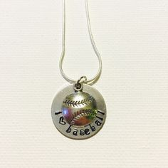 A personal favorite from my Etsy shop https://www.etsy.com/listing/234822654/hand-stamped-necklace-i-love-baseball