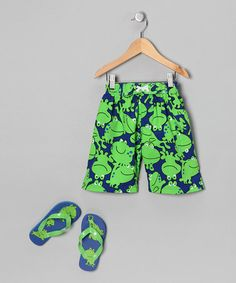 Take a look at this Green Skull Boardshorts & Flip-Flop Set - Boys by Jumpin Splash on #zulily today!