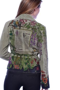 Jacket Hand Painted Suede Christian  by TheWoodsSecretGarden, $595.00