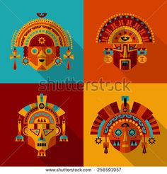 Inca masks. Vector illustration                                                                                                                                                                                 More