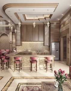 Cool Awesome Moroccan Dining Room Design You Should Try Luxury Homes Interior, Home Interior Design, Interior Decorating, Bar Interior, Luxury Dining Room, Dining Room Design, Kitchen Decor, Kitchen Design, Room Kitchen