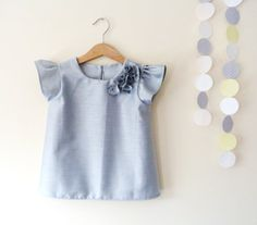 Girls Grey Blouse With Flower Detail And Short by VesperClothier, $42.00