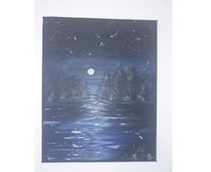 Acrylic on canvas painting - midnight landscape - 24 cm x 30 cm Drawing Studies, Landscape Paintings, Waves, Celestial, Drawings, Outdoor, Instagram, Outdoors, Sketches