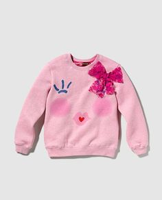 Sudadera de niña en rosa con print Ropas Para Niños Pequeños 99ea85136bf7c