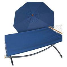 Phat Tommy Sunbrella Sling Hammock with 9 ft. Marenti Wood Market Umbrella Galaxy - 330/350-COMBO.GALAXY