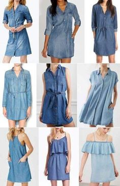 Demin Dress Outfit, Jean Dress Outfits, Chambray Dress, Chic Outfits, Jeans Dress, Denim Fashion, Fashion Pants, Fashion Outfits, Denim Frocks