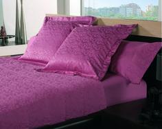 juegos de cama en saten de jackard, color fresa