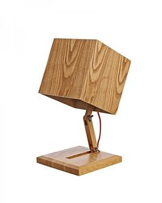 Modern Box Shape Wooden Table Lamp with Foldable Wooden Shade
