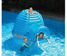 Floating Inflatable Igloo Habitat - On those extra hot days, don't you wish you had an igloo you could sit inside? Well now you can. Not only is a cool place to hide out in the pool, but you can even swim up into it through a hole in the base.