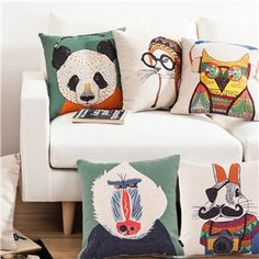 Modern Simple Cute Animals Creative Sofa Office Linen Pillow Cover 5 Designs