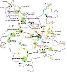Kunming Tourist Map, Kunming Maps, Kunming Travel Guide