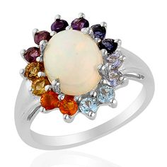 Liquidation Channel:  Ethiopian Welo Opal and Multi-Gemstone Ring in Platinum Overlay Sterling Silver (Nickel Free)