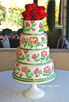 Red Garden Rose Brush Embroidery Wedding Cake Fondant with royal brush embroidery freehand pattern.