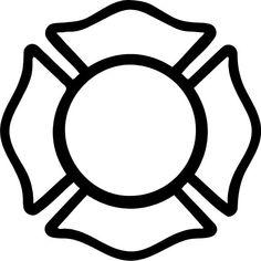 Black and White Firefighter Maltese Cross