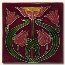 Reproduction Art Nouveau Tile V3A