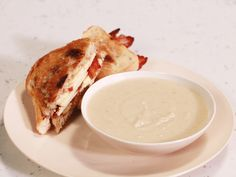 Creamy Apple and Celery Root Soup with Grilled Cheddar, Bacon and Apple Honey Mustard Sandwich