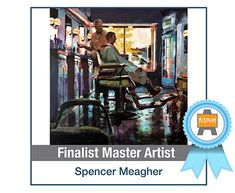 Interesting article featuring this large acrylic painting of a barber shop by spencer meagher.
