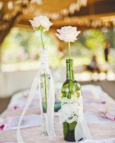 Wein Flaschen dekorierte weiße Spitze                                                                                                                                                                                 Mehr