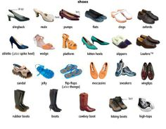types of shoes (do memory vocabulary game)