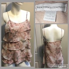 ☀Size Small New York & Company Ruffle Tank Top Measurements are in photos. Normal wash wear, no flaws. A3  Ask about a bundle discount on all items that are not ⏰Flash Sale items! I ship everyday. I always package safely. If I run out of boxes, I will use priority bags over a polymailer bag. If you prefer to only receive this great item in a box, please let me know! Thanks! New York & Company Tops Tank Tops