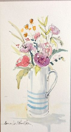 Original Water Colour and ink Painting 'Blue Striped Jug'. Watercolor Pictures, Watercolor Drawing, Watercolor And Ink, Watercolor Illustration, Watercolor Flowers, Painting & Drawing, Watercolor Paintings, Watercolors, Watercolor Ideas