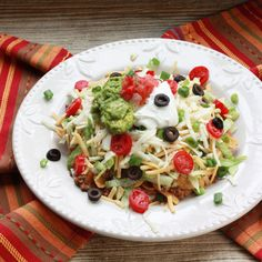Mexican Haystacks by Winner Dinners.  It's even easier with rice, chili and fritos....gotta have the fritos!