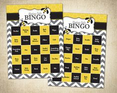 Baby Shower Game - Bumble Bee Themed Bingo Cards - Instant Download - $8