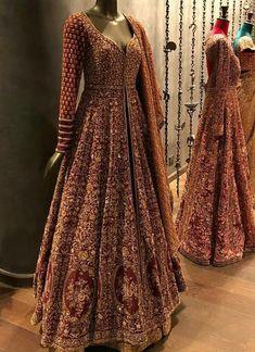 Exclusive Heavy Designer Bridal Look Maroon Color Pakistani Salwar Kameez - Designer Dresses Couture Indian Wedding Gowns, Indian Bridal Outfits, Pakistani Bridal Dresses, Pakistani Wedding Dresses, Indian Gowns, Indian Bridal Lehenga, Pakistani Outfits, Indian Anarkali, Bridal Anarkali Suits