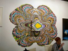 """This large work features a unique technique by artist Holton Rower, who creates """"pour paintings"""" that use up to 50 gallons of paint. Neo Rauch, Gallon Of Paint, Color Dust, Dramatic Arts, Pour Painting, Line Patterns, Cool Paintings, Paint Cans, Fractals"""