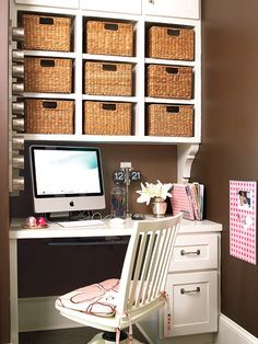 This tidy home office gets major help with aesthetically pleasing storage options, like the wicker baskets carry-alls, colorful paper organizers, and magnetic tins to hold odds and ends. Myhomeideas.com