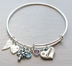 This adorable cousin gift starts with an adjustable wire bracelet that fits 7 Silver Bracelets For Women, Bangle Bracelets With Charms, Silver Bangles, Charm Braclets, Cousins, Hand Gestempelt, Cousin Gifts, Diy Jewelry Unique, For Elise